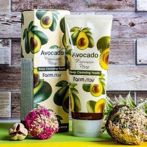 Farm Stay Avocado Premium Pore Deep Cleansing Foam  Очищающая пенка для лица с маслом авокадо