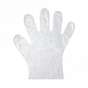 Перчатки полиэтиленовые одноразовые, КОМПЛЕКТ 50 пар (100 шт.), размер М (средний), 6 мкм, 99