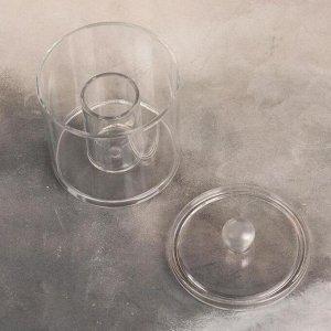 Контейнер для хранения ватных палочек, 9,3 х 13 см, цвет прозрачный