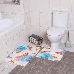 Набор ковриков для ванны и туалета «Рыбка», 2 шт: 50?50, 50?80 см