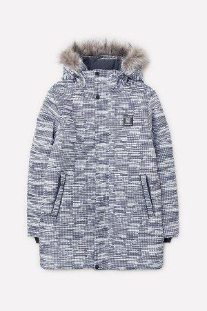 36049/н/2 Куртка/темно-серый, квадратики
