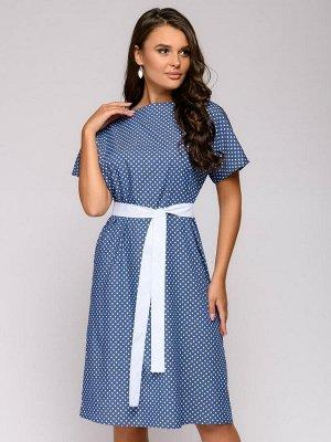 Платье синее в горошек с поясом и короткими рукавами