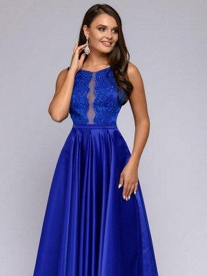 Платье синее длины макси с кружевной отделкой и расклешенной юбкой