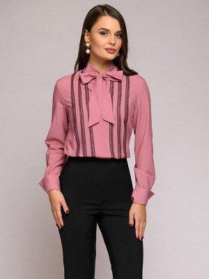 Блуза розовая в горошек с бантом и длинными рукавами