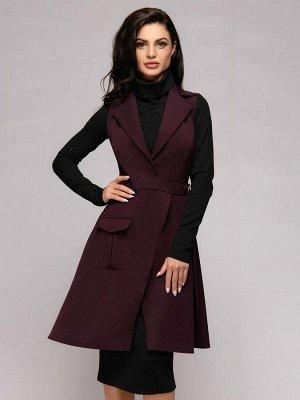 Платье-жилет сливового цвета длины мини без рукавов с запахом