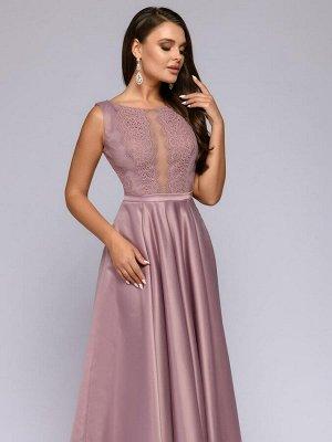 Платье цвета пыльной розы длины макси с кружевной отделкой и расклешенной юбкой