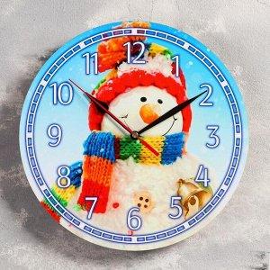 """Часы настенные, серия: Новый год, """"Снеговик"""", d=24 см, плавный ход , микс стрелки"""