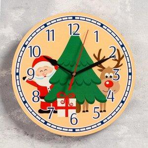 """Часы настенные, серия: Новый год, """"Дед мороз"""", d=24 см, плавный ход"""
