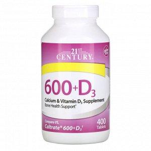 21st Century, 600+D3, добавка с кальцием, 400 капсуловидных таблеток