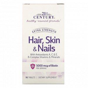 21st Century, Волосы, кожа и ногти, повышенная сила действия, 90 таблеток