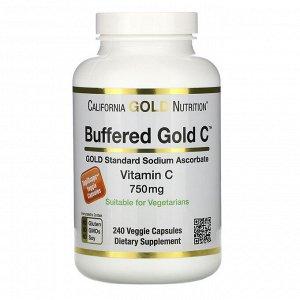California Gold Nutrition, Буферизованный витамин C в капсулах, 750 мг, 240 растительных капсул