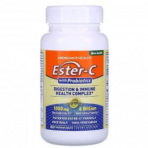 American Health, Ester-C с пробиотиками, комплекс для поддержки пищеварения и иммунитета, 60 растительных таблеток
