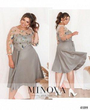 Платье №18-037-серый-перламутр