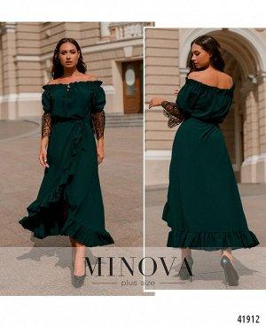 Платье №3373-темно-зеленый