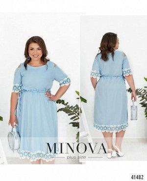 Платье №887-голубой