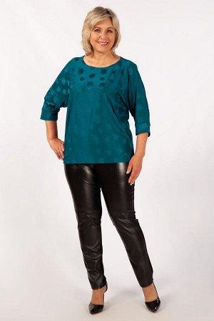 """кофта Пудровый,т-бирюзовый, т-зеленый, фиолетовый.  Нарядная трикотажная блуза с фактурным рисунком. Округлая горловина, рукав """"летучая мышь"""". Удлинённая спинка, по бокам разрезы. Рукав 3/4 на манжете"""