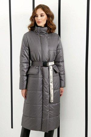 Пальто Пальто DI-LiA FASHION 0410 серый  Состав ткани: ПЭ-100%;  Рост: 170 см.  Пальто женское полуприлегающего силуэта из плащевой ткани на подкладке. Застежка центральная на тесьму «молния&ra