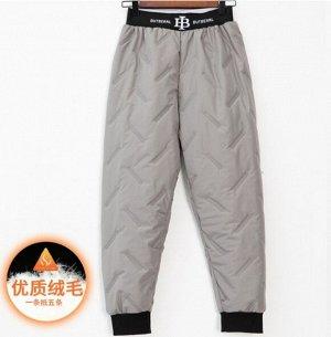 Теплые стеганые штаны на хлопке,серый