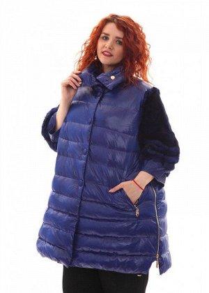 Женская куртка длинная синяя с мехом песца, арт. R-15-002, холлофайбер