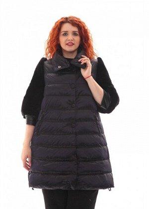 Женская куртка длинная черная с мехом песца, арт. R-15-002, холлофайбер