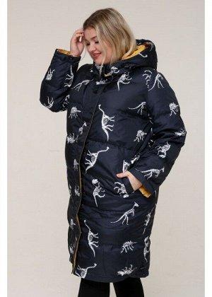 Женская зимняя куртка 203-01 Динозавры Синий