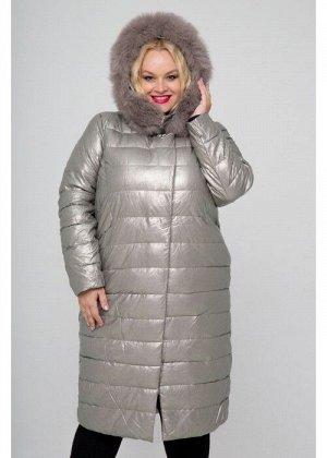 Женское зимнее пальто из экокожи, 806-81, Серебро