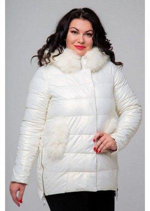 Женское зимнее полупальто из экокожи, 705-81, Белый