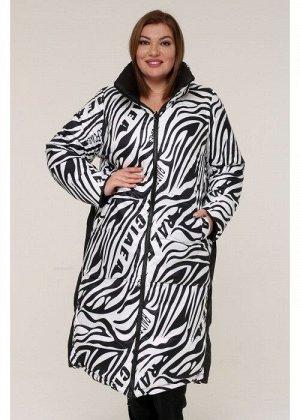 Женская зимняя двухсторонняя куртка 190006 Черно-белый