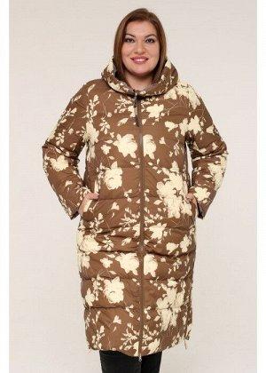 Женская зимняя куртка 203-124 Цветы коричневые