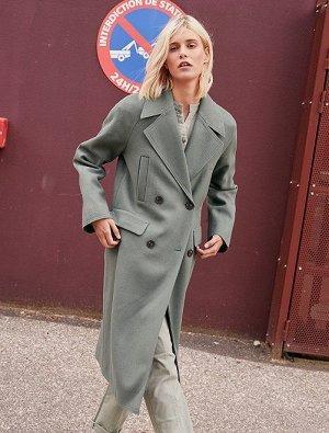 Длинное пальто из материала под шерсть