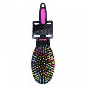 Расческа массажная с цветными зубчиками, пластик, 24x7,5x4см, 1 цвет
