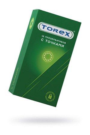 Презервативы точечные TOREX  латекс, №12, 18,5 см
