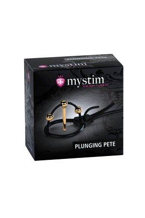 Электросбруя Mystim Plunging Pete, силикон, черный, 14 см