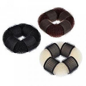 BERIOTTI Заколка-бублик для волос, мягкий поролон с липучками, 8см, 3 цвета
