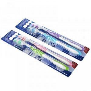 Зубная щетка 1+1 с тонкой щетиной, пластик, резина, средняя жесткость, индекс 5, степень 6