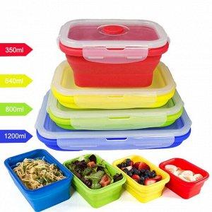 Набор пищевых складных контейнеров из силикона (4 шт)