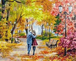 """""""Осенний парк, скамейка, двое"""" живопись на холсте 40*50см"""