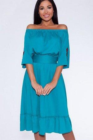 """Платье 432 """"Тенсел"""", морская волна"""