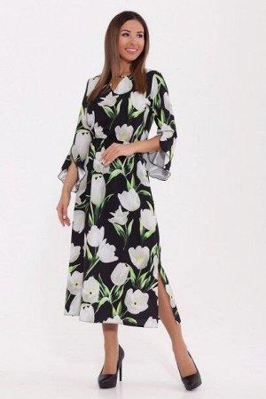 Платье 981 Черный/белый/тюльпаны