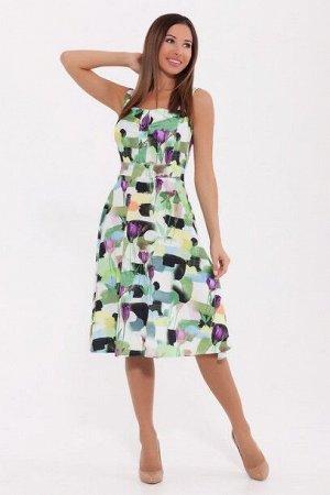 Сарафан 817 Фиолетовые тюльпаны/Зеленый