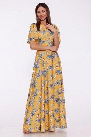 Платье 989 Горчичный/цветы