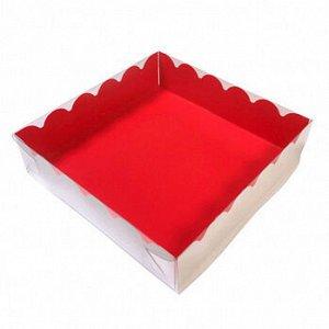 Коробка для печенья 12*12*3 см, Красная с прозрачной крышкой
