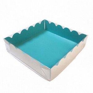 Коробка для печенья 12*12*3 см, Голубая с прозрачной крышкой