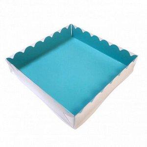 Коробка для печенья 15*15*3 см, Голубая с прозрачной крышкой