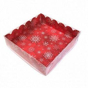 """Коробка для пряников с прозрачной крышкой """"Снежинки на красном"""", 12*12*3 см"""