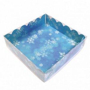 """Коробка для пряников с прозрачной крышкой """"Снежинки на голубом"""", 12*12*3 см"""