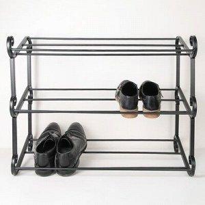 Подставка для обуви «Наоми», 3 яруса, 70?58 см, цвет чёрный
