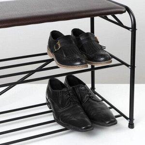 Подставка для обуви с сиденьем, 3 яруса, 65?32?48,5 см, цвет чёрный
