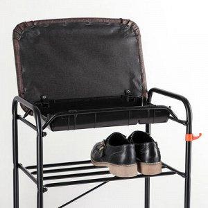 Подставка для обуви с сиденьем и ящиком, 3 яруса, 45?30?48 см, цвет чёрный
