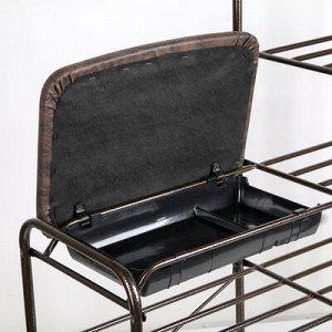 Подставка для обуви с сиденьем и ящиком, 5 ярусов, 88,4?29,8?94,5 см, цвет медный антик